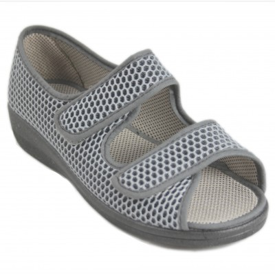 Neles 17814 - Gray Breathable Fabric Sneakers Closed At The Back And Adaptable Velcro On The Front