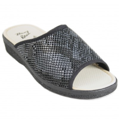 Roal 868 - Black Lycra House Slippers With Open Toes And Heel
