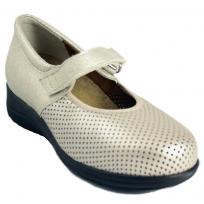 Alviflex 8442 - Shiny Beige Soft Holed Leather Mary Janes With Velcro And Removable Insole