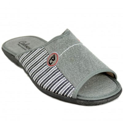 Cabrera 9544 - Plain And Striped Light Gray Toe Open Summer Sneakers