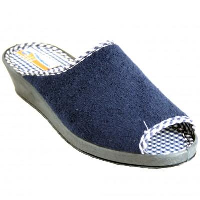 Soca 1131 - Zapatillas Verano De Ruso Azul Marino Con Tacón Abiertas De Delante