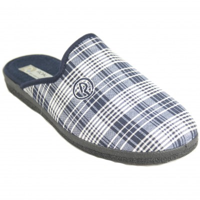 Roal 890 - Summer Covered Slippers And Checkered Curl Insole Navy Blue