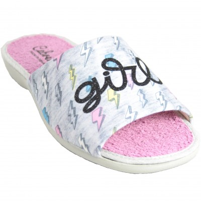 Cabrera 4356 - Pink And Gray Terry Summer Sneakers With Embossed Text Girl Power