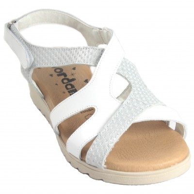 Jordana 2211 - White and Brown Crossed Leather Sandals With Velcro