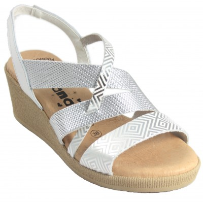 Jordana 2870 - White and Silver Leather Wedge Sandals with Back Rubber Closure