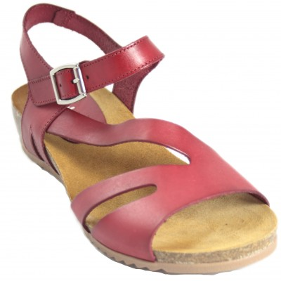 Jordana 3243 - Red or Brown Leather Sandals With Buckle And Hard Anatomic Sole