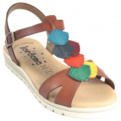 Jordana 3519 - Flat Leather Sandals With Soft Sole, Colored Leaves And Buckle Closure