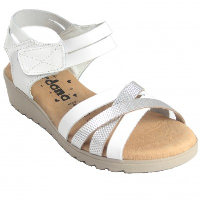Jordana 3548 - Leather sandals with strips in white or brown colors with half wedge and Velcro closure
