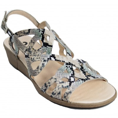 24 Horas 24930 - Snake Engraved Leather Sandals With Buckle Closure And Light Sole