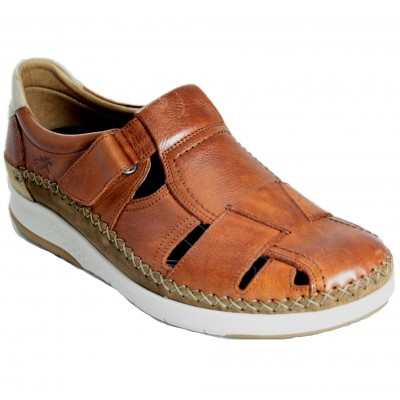 Fluchos F0797 - Brown Leather Man Closed Sandals With Removable Insole and Velcro Closure