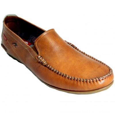 Fluchos F1173 - Classic Brown Soft Leather Loafers With Beige Back Detail And Removable Insole