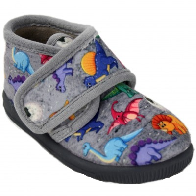 Vulcabicha 1041 - Gray Boots Slippers With Colored Dinosaurs Velcro Closure