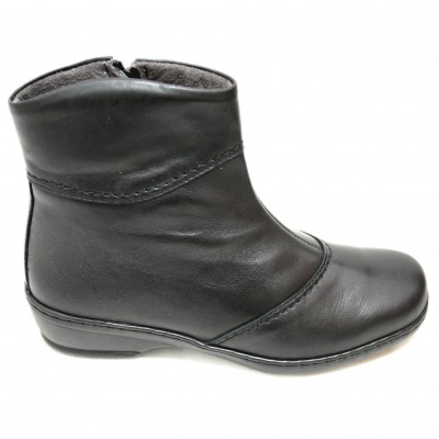 4a0e4869908 Notton - 2311 Notton 2311 - Smooth Black Leather Ankle Boots Woman  Comfortable Wide Removable Insole With Zipper