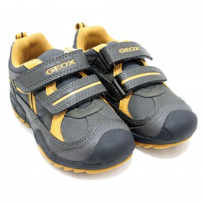 Geox Savage - Leather Sport Shoe with Two Velcro Closures