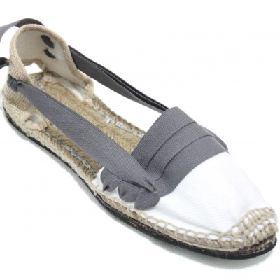 Traditional Espadrilles Flat Rubber Sole Design Three Veins or Innkeeper Color Grey