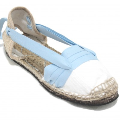 Traditional Espadrilles Flat Rubber Sole Design Three Veins or Innkeeper Color Light Blue