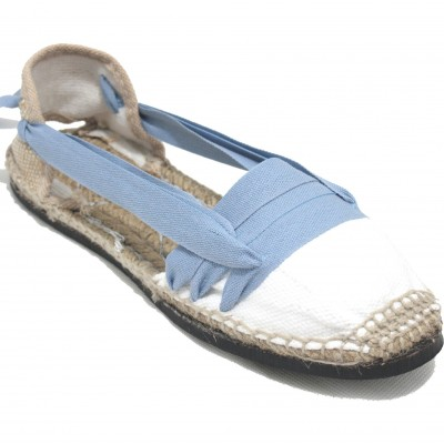 Traditional Espadrilles Flat Rubber Sole Design Three Veins or Innkeeper Color Jeans Blue
