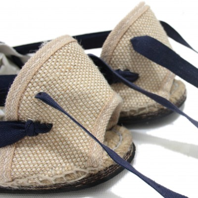 Traditional Espadrilles Flat Rubber Sole Design Three Veins or Innkeeper Color Navy Blue