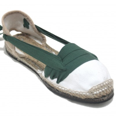 Traditional Espadrilles Flat Rubber Sole Design Three Veins or Innkeeper Color Dark Green