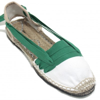 Traditional Espadrilles Flat Rubber Sole Design Three Veins or Innkeeper Color Green