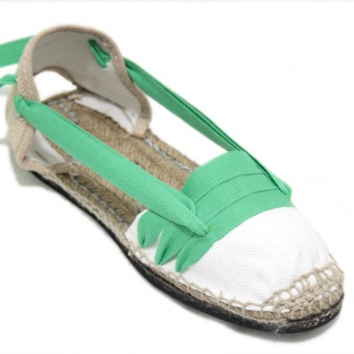 Traditional Espadrilles Flat Rubber Sole Design Three Veins or Innkeeper Color Light Green