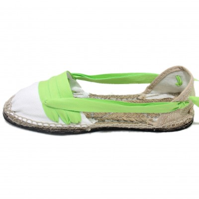 Traditional Espadrilles Flat Rubber Sole Design Three Veins or Innkeeper Color Lime Green