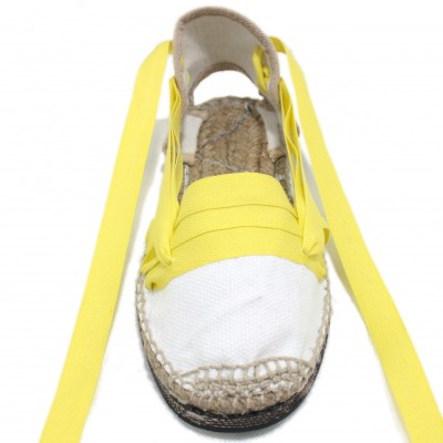 Traditional Espadrilles Flat Rubber Sole Design Three Veins or Innkeeper Color Yellow