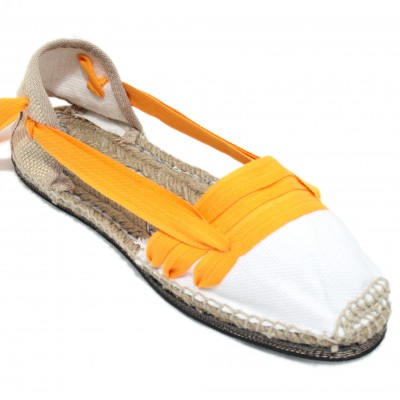 Traditional Espadrilles Flat Rubber Sole Design Three Veins or Innkeeper Color Light Orange
