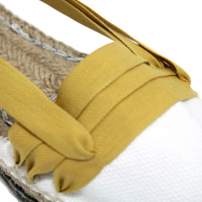 Traditional Espadrilles Flat Rubber Sole Design Three Veins or Innkeeper Color Mustard