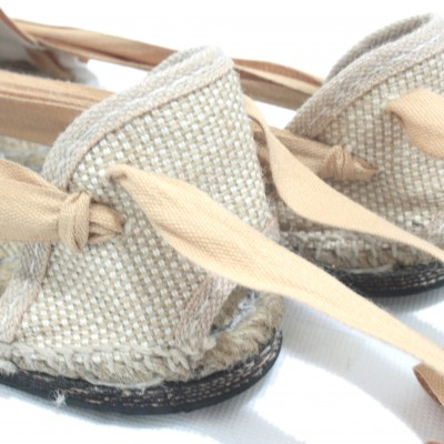 Traditional Espadrilles Flat Rubber Sole Design Three Veins or Innkeeper Color Light Brown