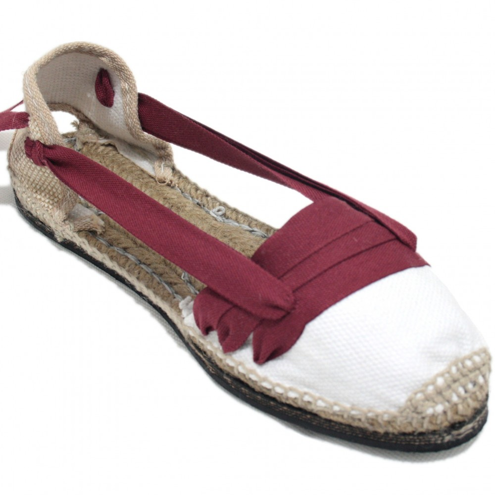 Traditional Espadrilles Flat Rubber Sole Design Three Veins or Innkeeper Color Maroon