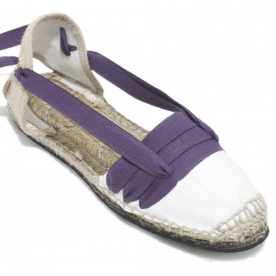 Traditional Espadrilles Flat Rubber Sole Design Three Veins or Innkeeper Color Purple