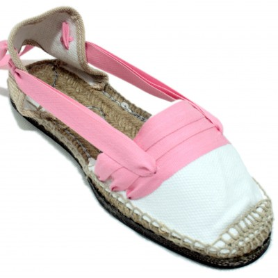 Traditional Espadrilles Flat Rubber Sole Design Three Veins or Innkeeper Color Pink
