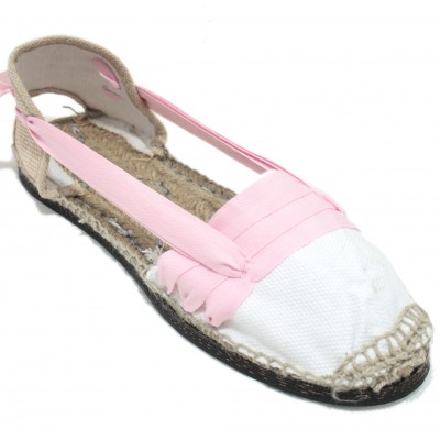 Traditional Espadrilles Flat Rubber Sole Design Three Veins or Innkeeper Color Light Pink