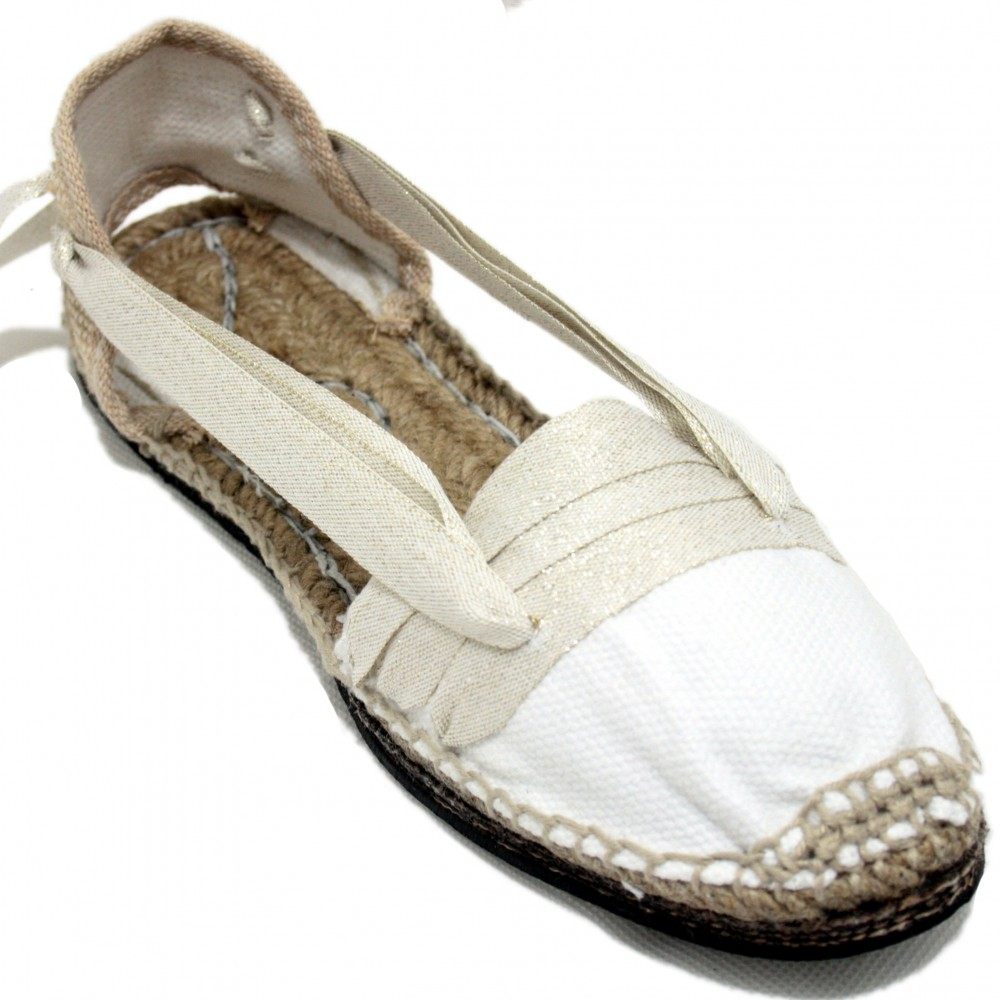 Traditional Espadrilles Flat Rubber Sole Design Three Veins or Innkeeper Color Silver
