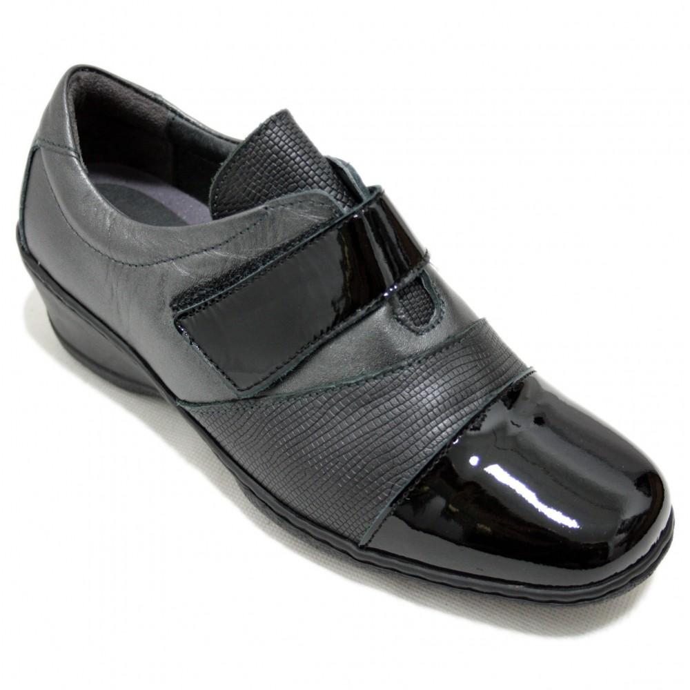 Cómodos De Brillante Negre Cuña Punta Y Velcro 41 Para Negra 2208 Mujer Notton Talla Anchos Piel Con Color Zapatos xrBsCdothQ