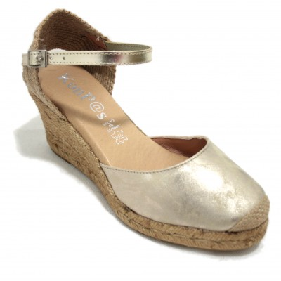 KonPas 1553 10-5 Platinum - Silver Leather Espadrilles with Comfortable Bracelet and Wedge