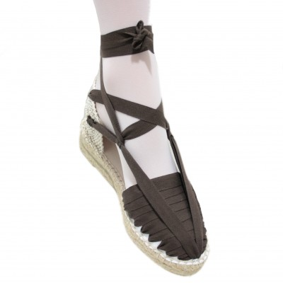 Mid Heel Espadrilles Pintxo or Set Vetes Dark Brown