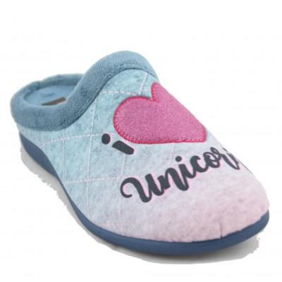 KonPas 5591 - Light Blue Women's Soft Open Sneakers with I Love Unicorn Drawings