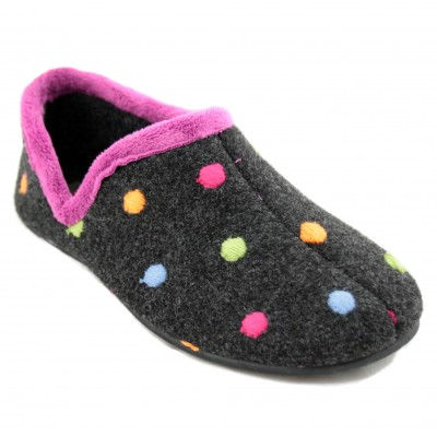 KonPas 91441 - Dark Gray Women's Soft Closed Sneakers with Fuchsia Edges and Colored Tops