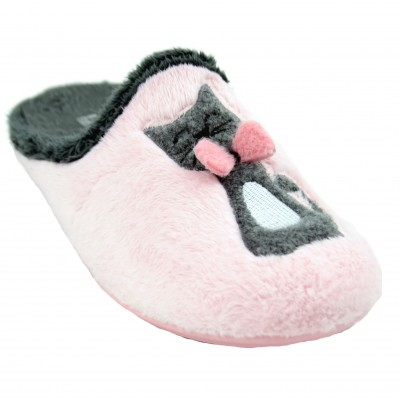 Vulca Bicha 4351 - Pink and Gray House Slippers with Cat Drawing with Pink Bow