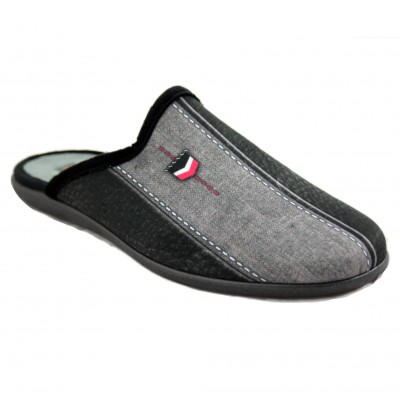 KonPas 4724.946 - Black Open Man House Slippers with Three Color Shield