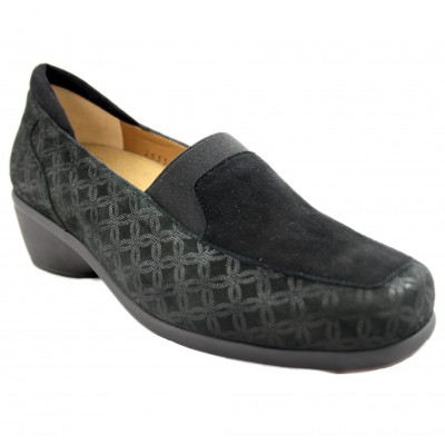 Alviflex 7968 - Engraved Black Leather Woman Shoes with Special Wide Heel and Removable Insole