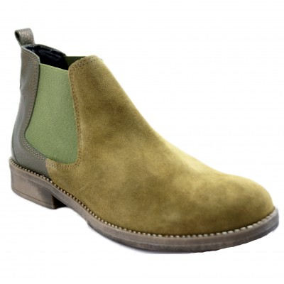 Frisoles L0791 - Women's Booties Combination of Smooth and Velvety Leather with Green Color Rubber Closure