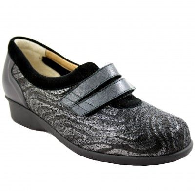 Alviflex 7813 - Woman's Shoe with Velcro and Animal Print with Gray and Black Tones