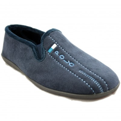 KonPas M31-17706 - Classic Navy Blue Closed House Slippers with Light Blue Polo Shirt