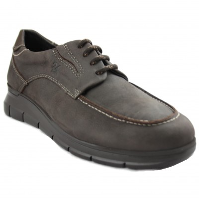 24 Horas 10730 - Brown Leather Men's Shoes with Laces and Especially Comfortable