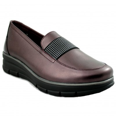 24 Horas 24290 - Colored Bordeaux Women Mocassins with Tattoo Detail