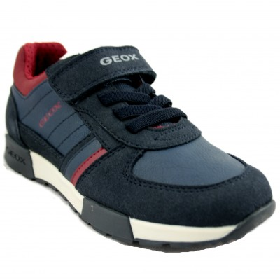 Geox Alfier - Kids' Casual Sports Shoes with Velcro and Laces with Navy Blue and Maroon Tones
