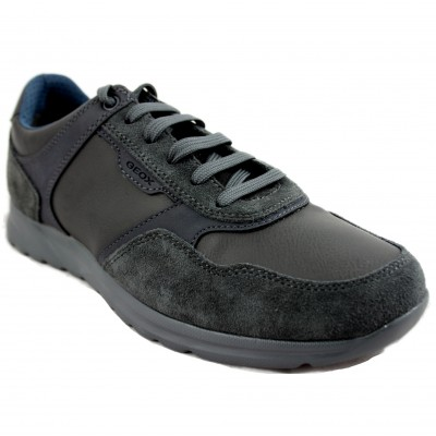 Geox Damian - Casual Black of Different Textures of Grey Leather with Laces